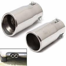 Stainless Steel Round <b>Exhaust Muffler Tail Pipe</b> Trim Tip End ...