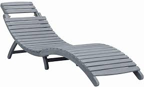 vidaXL <b>Solid Acacia</b> Wood <b>Sun Lounger</b> Foldable Sun Bed Outdoor ...