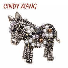 2019 <b>CINDY XIANG</b> Choose <b>Bead</b> Donkey Brooches Women And ...