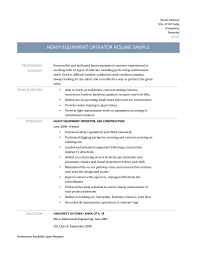 heavy equipment operator resume templates sample resume heavy equipment operator