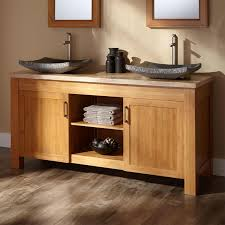 dual vanity bathroom: quot jindra bamboo double vessel sink vanity with stone top