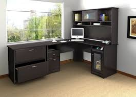 modular home office furniture of black l shaped desk designed with shelf and storage combine with brown floor buy shape home office