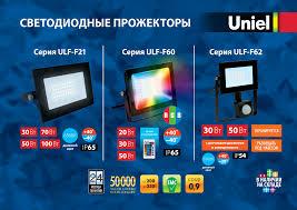 <b>Светодиодные прожекторы</b> серий ULF-F21, ULF-F60, ULF-F62
