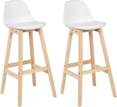 Breakfast Kitchen Counter Chairs <b>Bar Stools</b> Set of <b>2</b> , White | Woltu.eu