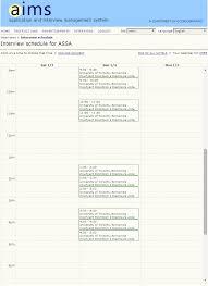 aims application and interview management calendar