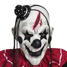 <b>Deluxe Horrible Scary Clown</b> Mask Adult Men Latex White Hair ...