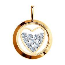 Подвеска из золота со <b>Swarovski</b> Zirconia и минеральным стеклом