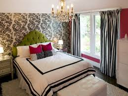 charming wallpaper for teen room decor and green accent tufted headboard feat trendy bay window curtain accessoriespretty teenage bedrooms designs teens