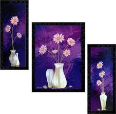 Janki Online Set of 3 Flowers <b>Modern Art</b> Glass Framed <b>Wall</b> ...