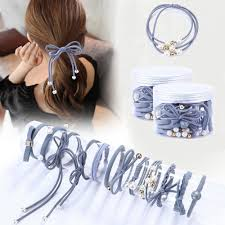 12Pcs/Set <b>High Elastic Hair Bands</b> Solid Pearl Stretch Hair Ties For ...