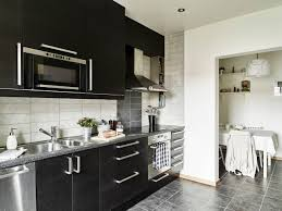 Gray Tile Kitchen Floor Apartments Black Wood Veneer Cabinet Interior Oak Dark Laminates
