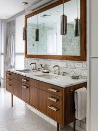 m modern brown varnishes oak wood bathroom vanity with white marble granite countertop and double white ceramic under mount sink under cool pendant lights bathroom vanity pendant lights bathroom