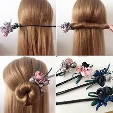 <b>M MISM</b> Women Flower Donut Bun Maker Big Pearls Ribbon DIY ...