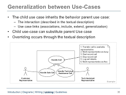uml use case diagrams       generalization between use cases
