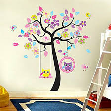 <b>Owls Tree</b> Wall Sticker <b>Flowers Bird</b> Art Decal Baby Boy Girl Kids ...
