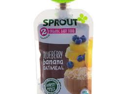 Sprout Organic, <b>Детское питание</b>, <b>Этап</b> 2, Черника, банан, овес, <b>3</b> ...