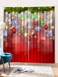 2 Panels <b>Christmas Decorations Print</b> Window Curtains, 2020