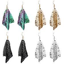 Buy <b>Fashion</b> Women <b>Sequins Mesh</b> Dangle Drop Hook Earrings ...