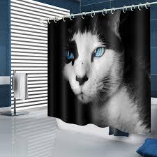 <b>Mysterious Blue-eyed Cat Pattern</b> Waterproof Shower Curtain - Multi ...