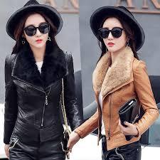 New Autumn Winter Woman Pu Leather <b>Jacket</b> Warm Large <b>Fur</b> ...