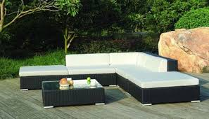 simple floor model for double color modern patio furniture facing small table and cool plants around black outdoor furniture