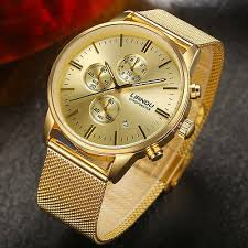<b>LIANDU Men's</b> Chronograph Gold Stainless Steel Calendar Quartz ...