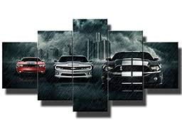 Black and White Pictures Red Sports Cars <b>Painting Canvas 5 Panel</b>