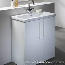 White Bathroom Units Designer Freestanding 700mm White Bathroom Vanity Unit Main Image