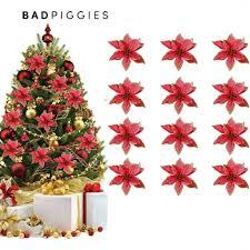 BadPiggies 12pcs <b>15cm</b> Glitter Artificial Flowers Christmas Tree ...