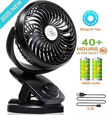 3 Speeds <b>USB Rechargeable Mini</b> Cooling Fan Clip On Desk Table ...