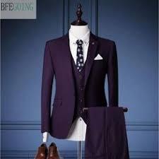 Purple Regular <b>Bridegroom</b> Tuxedos Single Breasted <b>Groom</b> Suit+ ...