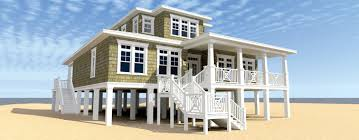 Elevated  Stilt  Piling and Pier House Plans   BuilderHousePlans comCoastal Cape Cod Style House Plan HWBDO