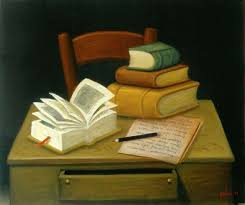 Resultado de imagen de mesa con libros