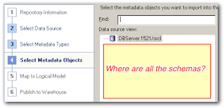 no schemas shown in select metadata objects import metadata obiee administration