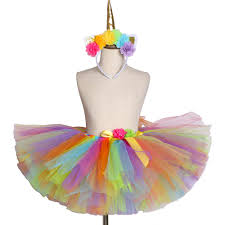 Colorful <b>Rainbow Unicorn Tutu Skirt</b> Fluffy Flower Tulle Girl Skirts ...