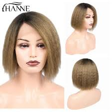 <b>HANNE</b> Kinky Straight Human <b>Hair</b> Short Bob Wigs <b>Ombre</b> 1B ...