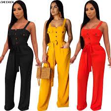 <b>2019</b> women <b>spaghetti strap sleeveless</b> with sashes wide leg long ...