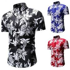 2019 <b>Mens Floral Flower</b> Print Casual <b>Shirt Men</b> Short Sleeve Dress ...
