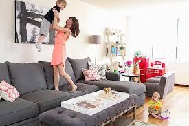 gray <b>sofa</b>, white walls, kids nook, <b>soft</b> ottoman/coffee table ...