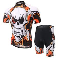 <b>Men's</b> Short Sleeve Bold <b>Skull</b> Full Zip <b>Cycling Jersey</b> Shorts Suit