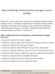 top 8 marketing communications manager resume samples central head corporate communication resume