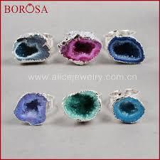 <b>BOROSA</b> Clearance Sale <b>5</b>/<b>10PCS</b> Silver Color Cave Small Drusy ...