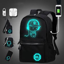 6PCS/4PCS <b>Outdoor</b> Anti-theft Backpack <b>Luminous</b> USB Charging ...