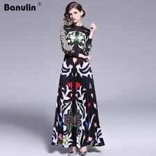 <b>Banulin 2019</b> Runway Designer <b>Woman</b> Maxi Dress High Waist Puff ...