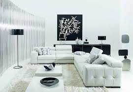 living room sofa ideas: minimalist black and white modern living room furniture with white sectional couch and long black