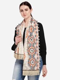 Buy Mesmora Cream <b>African Motif</b> Woollen Embroidered Muffler ...