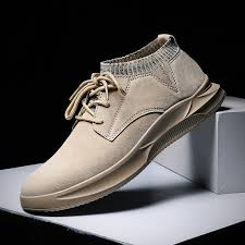 Men <b>Non Slip</b> Elastic Panels <b>Casual Leather Shoes</b>