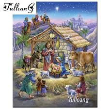 <b>FULLCANG</b> Full Square Diamond Embroidery Jesus Was Born <b>Diy</b> ...