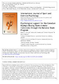 (PDF) Psychological support for the Canadian Olympic <b>Boxing Team</b> ...