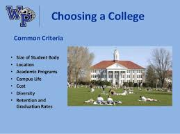 2016 09 15 college planning night presentation ... 10. Choosing a College Common Criteria ...